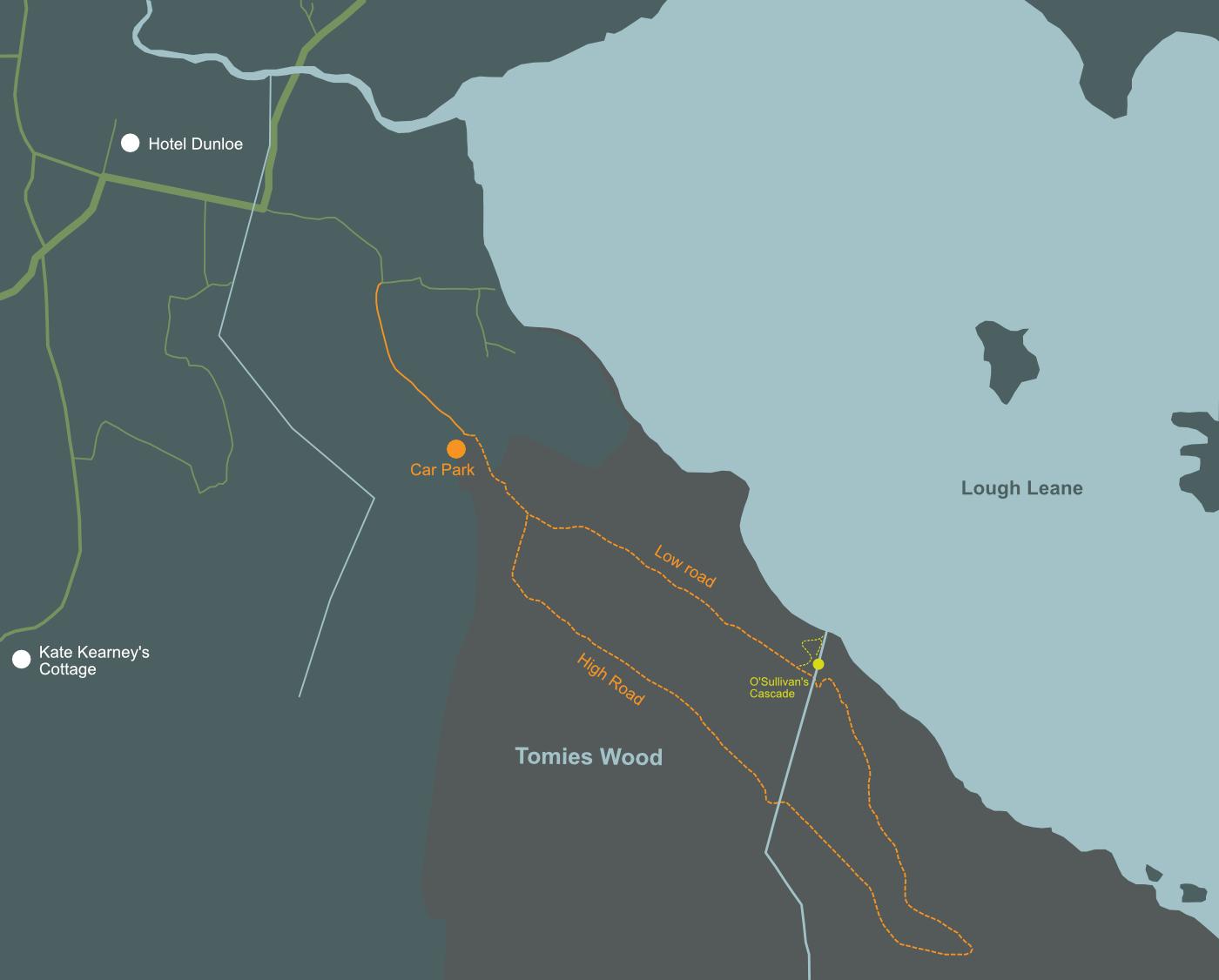 Stylised map of Tomies Wood Loop walk, Beaufort